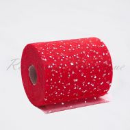Red Sequin Heart Tulle Roll